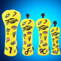 Golf Wood Headcover Driver/Fairway/Hybrid Cover Big Teeth Yellow Candy For Ping