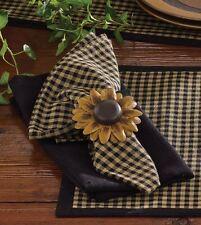 Primitive Country Sunflower Metal Napkin Ring Farmhouse Tabletop Decor