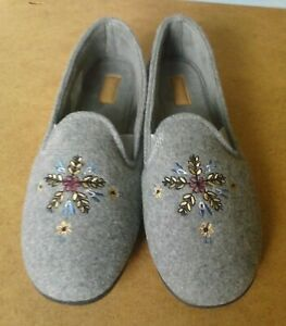 CLARKS -Marsha Star - Ladies Grey Embroidered Slippers Size 5 UK - NEW UNBOXED