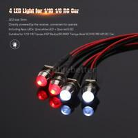 4 LED LIGHTS KIT 2 WHITE 2 RED FOR 1/10 1/8 TRAXXAS HSP REDCAT RC4WD RC CAR W0T4