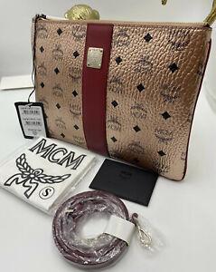 NWT MCM Medium Visetos Original Logo Crossbody Pouch Clutch Bag Champagne Gold