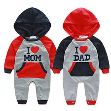 Newborn Baby Boy Girl Cotton Clothes I LOVE DAD/MOM Hooded Romper Boysuit Outfit