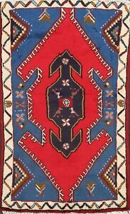 RED Geometric Tribal Hamedan Area Rug Hand-knotted Oriental Kitchen Carpet 3'x4'