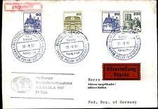 Schiffspost Brief Eilzustellung Schiff MS EUROPA Paquebot ab Glasgow 1987
