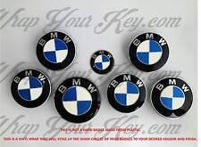 WHITE & BLUE CARBON FIBER BMW ALL Badge Emblem Overlay @!FITS ALL BMW!@ M SPORT