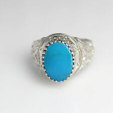 925 Sterling Silver Natural Turquoise Oval Stone Designer Men Ring MSR-036