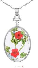 "Red Bouquet Dried Flowers Oval In Glass Charm  18"" Necklace D589 *4*"