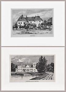 Mecklenburg-Vorpommern - Gutshäuser Camin und Thurow - 2 Blatt Holzstiche 1881