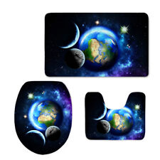 3 Pieces Galaxy Series Bathroom Soft Mat Set Toilet Seat Lid Cover Non-slip Rug