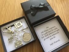 LUCKY SIXPENCE travel charm, travelling, good luck keyring, gift box