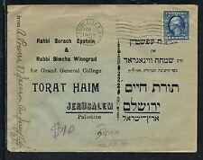 1925 Jersey City NJ USA Judaica Cover Jerusalem Palestine Rabbi Epstein Winograd