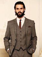 Custom Size Slim Fit  Vintage Wool Tweed 3-Piece Kahik  Khaki Herringbone Suit
