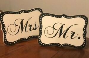 Mr And Mrs Wedding Signs Reception Decoration Black and White Husband Wife NWOT