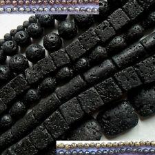 Perles de lave noire: rondes-cubes-gouttes-plaquées... pierres naturelles