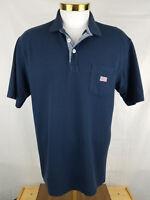 ORVIS Polo Golf Shirt Blue Cotton Short Sleeve Golf FLAG Logo Men's Large Used