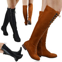 Womens Lace Up Combat Over The Knee High Ladies Flat Riding Biker Boots Size 3-8