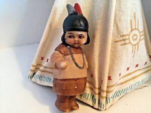 "Antique Miniature 3 3/4"" All Bisque Native American Nodder Doll"