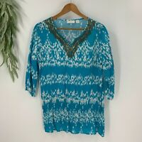 Chico's Womens Innate Ikat Kate Top Tunic 3/4 Sleeve Beaded Size 1 M Boho Shirt