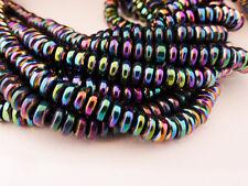 40 x 6 mm Arc-en-ciel Coloré amagnétique hématite Rondelle Abacus perles disque plat