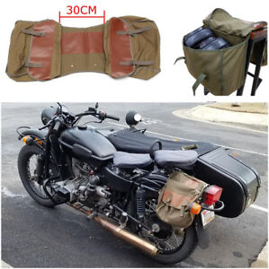 Light Motorcycle Saddle Bag Travel Essential Brown PU Leather+Army Green Canvas