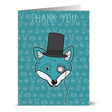 24 Thank You Note Cards - Cool Fox Thank You - Gray Envs