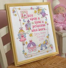 "Baby Princess Birth Record Cross Stitch Kit 10"" x 13"" By Bucilla NEW 45328"