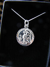 "1.3CM SILVER 925 NECKLACE ST CHRISTOPHER 14"" CHAIN GIRLS BOYS PRESENT GIFT CHILD"