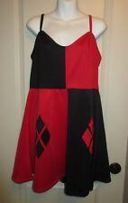DC COMICS Hot Topic HARLEY QUINN Cosplay Dress ~ Red/Black Strap Dress ~ Size XL