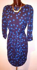 Boden Black & royal blue polka dot knee length dress size 12