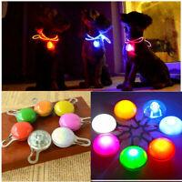 LED Pet Dog Cat Collar Charms Safety Night Light Clip Flashing Keyring Pendant