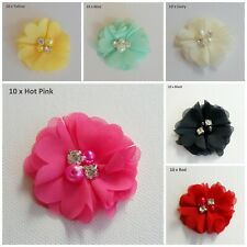 10 CHIFFON FABRIC FLOWER EMBELLISHMENT APPLIQUE DIY CRAFT 4.5cm