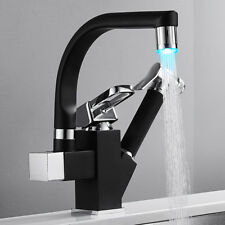 Black 360°Swivel Spout LED Kitchen Sink Mixer Taps With Pull Out Bidet Spray Tap