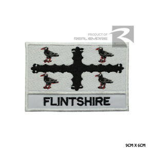 FLINTSHIRE County Flag with name Iron On Sew On Embroidered Patch Badge