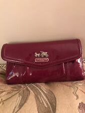 Coach Checkbook wallet used burgundy color