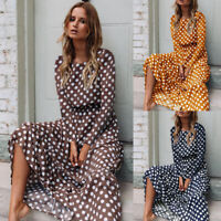 Women Long Sleeve Polka Dot Maxi Long Dress Ladies Boho Party Beach Dress Casual