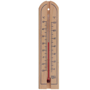 WOOD WALL THERMOMETER INDOOR OUTDOOR GARDEN GREENHOUSE ROOM HOME OFFICE - IN-002