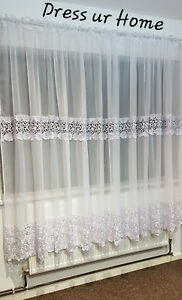 """Ready made voile net curtain white guipure lace 190cm x 400cm, 74"""" x 157"""""""