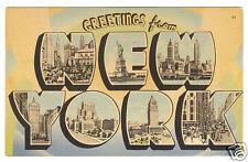 """Big Letter """"Greetings from New York """" linen postcard 1952"""