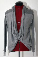 Elan Gray White Striped Long Sleeve Thumbhole Twist Front Sweater Size Medium