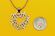 Tri Bicycle (Bike)  Pendant Stainless Steel Charm necklace FREE beaded chain
