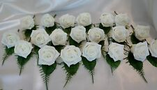 20 Ivory Rose Crystal Wedding Buttonhole Package