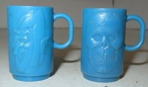 Vintage Count Chocula & Skull Monster Cereal Premium Toy Prize Blue Plastic Cups