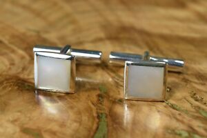 Modern Sterling Silver Mother of Pearl Inlay Cufflinks 925 IBB