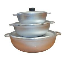 3 Piece Cast Aluminum Silver Caldero Cookware Set With lid