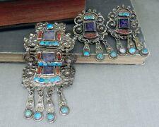 Mexico Sterling Pin/ Pendant & Earrings Set Matl M. Regis - Ricardo Salas Ms-12