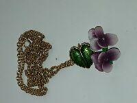VTG Western Germany Enamel Plastic Rhinestone Violets Gold Tone Pendant Necklace