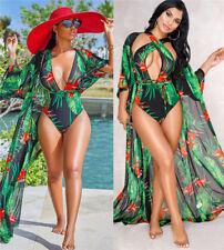 Sexy, découpé, vert motif floral One Piece maillot de bain avec kraftan... taille... 12-14