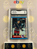 1989 Topps Brian Leetch #136 Rookie - 9 MINT GMA Graded NHL Hockey Card