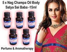 Nag Champa Oil Body Perfume Original Satya Sai Baba Fragrance 15ml 5 bottles