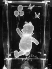 3D POOH WITH BALLOONS  3 Inch GLASS PAPERWEIGHT Laser Etched Crystal